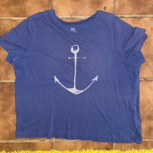 Soft Relaxed Tee With Anchor Print